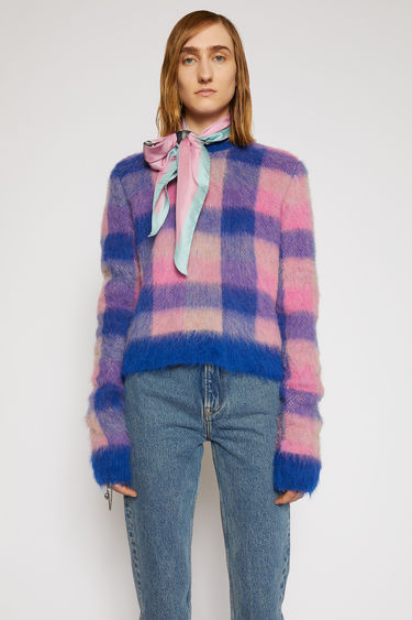 Acne Studios blue/pink sweater is knitted with an alpaca-blend yarn that has been brushed to enhance the fluffy texture. It has a crew neck shape and features a vibrant check jacquard pattern.