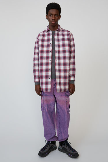 Acne Studios aubergine/white quilted, oversized overshirt in a shadow check design.