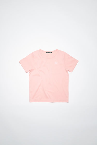 Acne Studios blush pink crew neck t-shirt is made from organic cotton with a regular fit and a face logo patch.