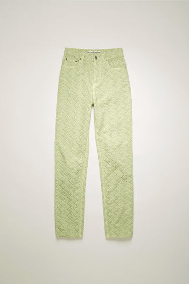 Acne Studios pastel green trousers are crafted from rigid denim that's jacquard woven with a pinecone motif and shaped to a high-rise straight-leg silhouette with tobacco topstitching.
