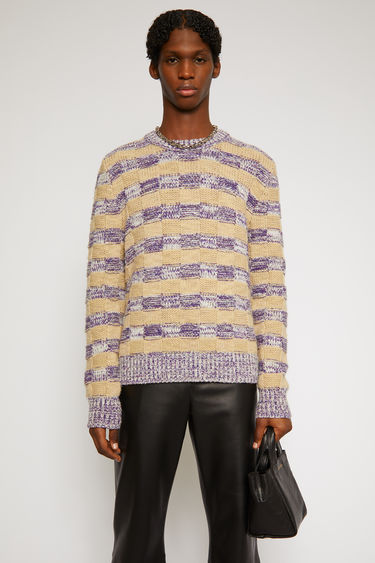 Acne Studios purple multicolour striped sweater is knitted with melange of threads in a chunky basketweave stitch and neatly framed with ribbed edges.