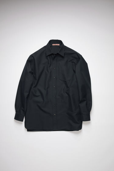 Acne Studios navy shirt is made from a lightweight cotton-blend twill to an oversized silhouette and has a chest patch pocket and tonal buttons through the placket and cuffs.