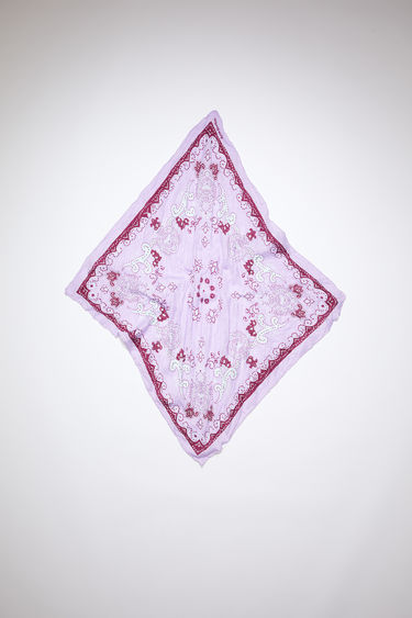 Acne Studios lilac/burgundy crinkled, square-shaped bandana scarf is made of a lightweight cotton/silk blend and features a modified paisley print.