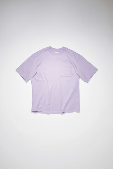 Acne Studios light purple t-shirt is crafted from organically grown cotton that's enzyme-washed to create a soft handle. It's shaped to a relaxed silhouette and has a patch pocket and dropped sleeves.