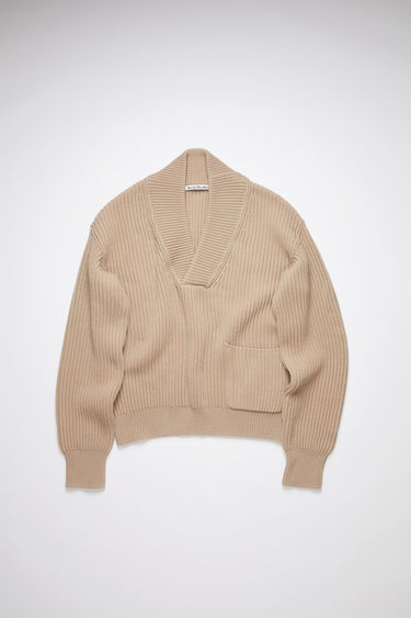 Acne Studios hazel beige shawl neck sweater is made of a cotton blend, featuring a mixed rib knit.