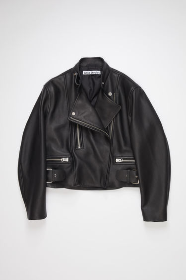 Acne Studios black leather biker jacket is fully lined with a classic fit.