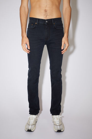 Acne Studios blue/black jeans are made from comfort stretch denim with a mid rise and a skinny leg.