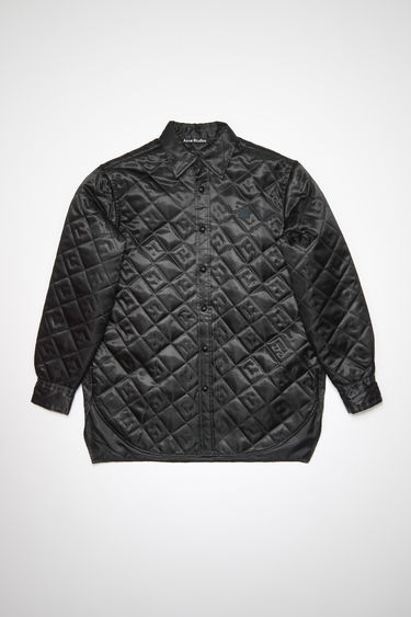 Acne Studios black shiny, lightweight jacket features face quilting and a tonal face patch at the chest.