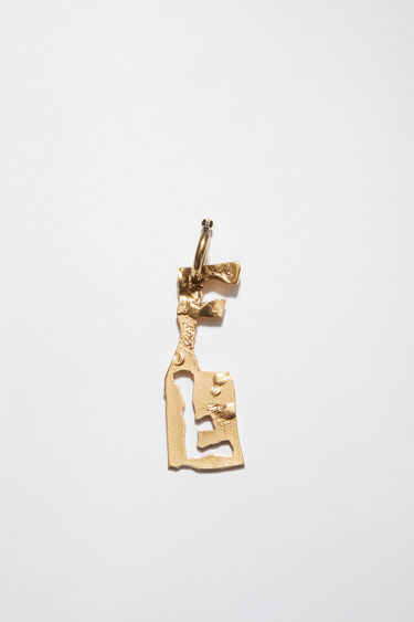 Acne Studios gold earring is crafted with a hammered pendant and features a stencil of the letter 'F', then secured via a hinge fastening.