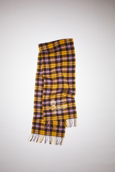 Acne Studios yellow/brown plaid scarf is made of a recycled wool blend with a distressed print and fringed ends.