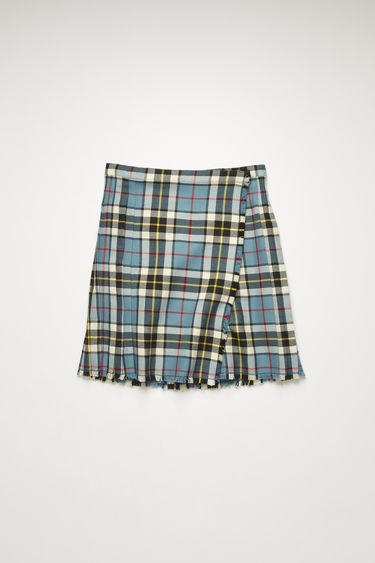 Acne Studios blue/white skirt is made from a checked wool-blend suiting that's pressed into sharp knife pleats with a wrap-over front and finished with fringed edges.