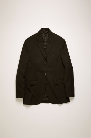 Acne Studios black jacket is cut to an oversized fit with dropped shoulders and finished with a single-breasted buttoned front and an adjustable back belt.
