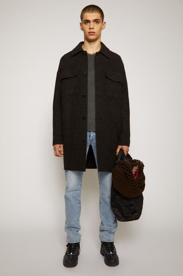 Acne Studios anthracite/black coat is crafted from melange wool-twill to an oversized silhouette with dropped shoulders and features two chest flap pockets, two side welt pockets and a point collar.