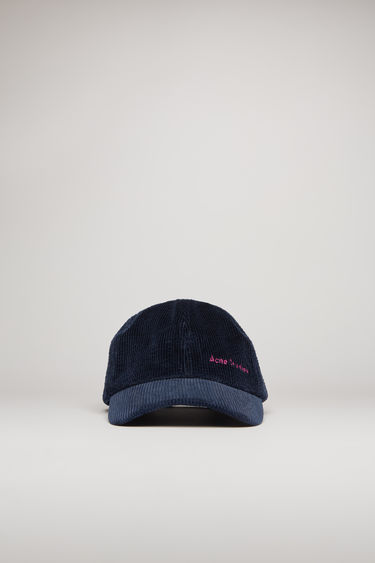 Acne Studios navy blue corduroy cap is shaped to a six-panel silhouette and completed with an embroidered logo on front.