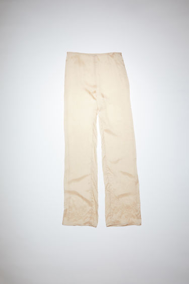 Acne Studios ecru beige trousers are made of cupro with a classic fit.