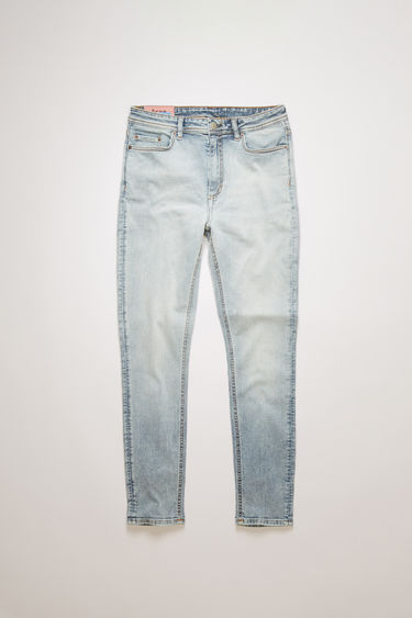 Acne Studios Blå Konst Peg marble wash jeans are crafted with super stretch denim and shaped to a skinny fit with a high-rise waist.