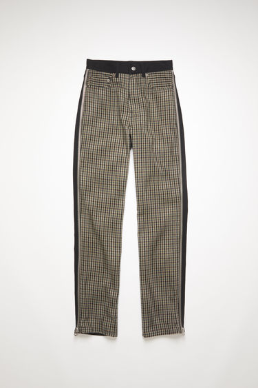 Acne Studios black/brown zip trousers are crafted from repurposed black rigid denim and checked wool, featuring zip details on both legs. Shaped to sit high on the waist before falling into cropped, straight legs.