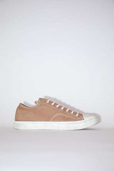 Acne Studios brown/off white distressed canvas lace-up sneakers have rubber toes and soles.