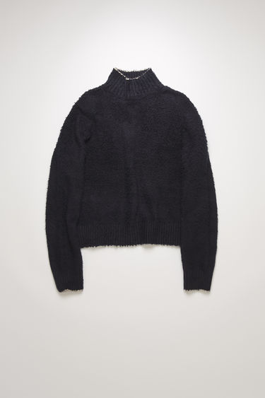 Acne Studios navy blue polo neck sweater is crafted from a cotton-blend that's been brushed to a shaggy texture and shaped to an oversized fit with dropped shoulders.
