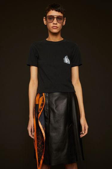 Acne Studios black t-shirt is crafted from slubbed cotton jersey to a slim fit and features a print of Acne Studios' headquarter on the chest.