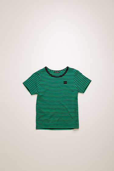 Acne Studios emerald green striped t-shirt is shaped with a round neck and short sleeves and finished with a face-embroidered patch on the chest.