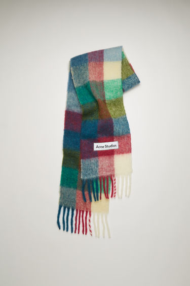 Acne Studios fuchsia/blue/white checked scarf is spun from alpaca, wool and mohair yarns to a wide dimension and features a stitched logo patch above the fringed edges.