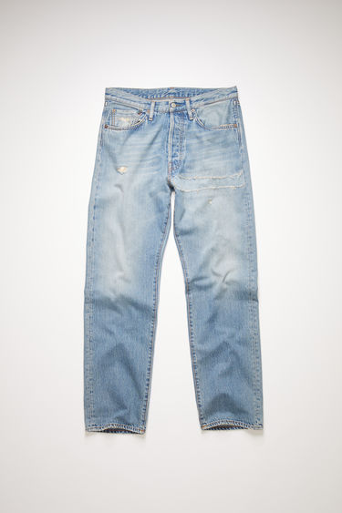 Acne Studios light blue jeans are made from rigid denim with a deep rise and a loose leg which achieves a standard straight leg.