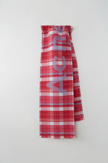 Acne Studios fuchsia/lilac skinny check scarf is crafted from soft compact wool and detailed with Acne Studios logo.
