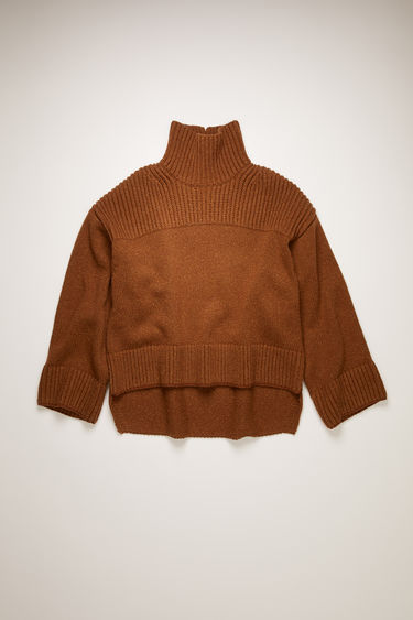 Acne Studios almond brown sweater is knitted from speckled wool and silk-blend and features rib-knitted yoke, high neck, cuffs and hem. It's shaped for an oversized, boxy fit and has a stepped hem and a slit detail at the neck.