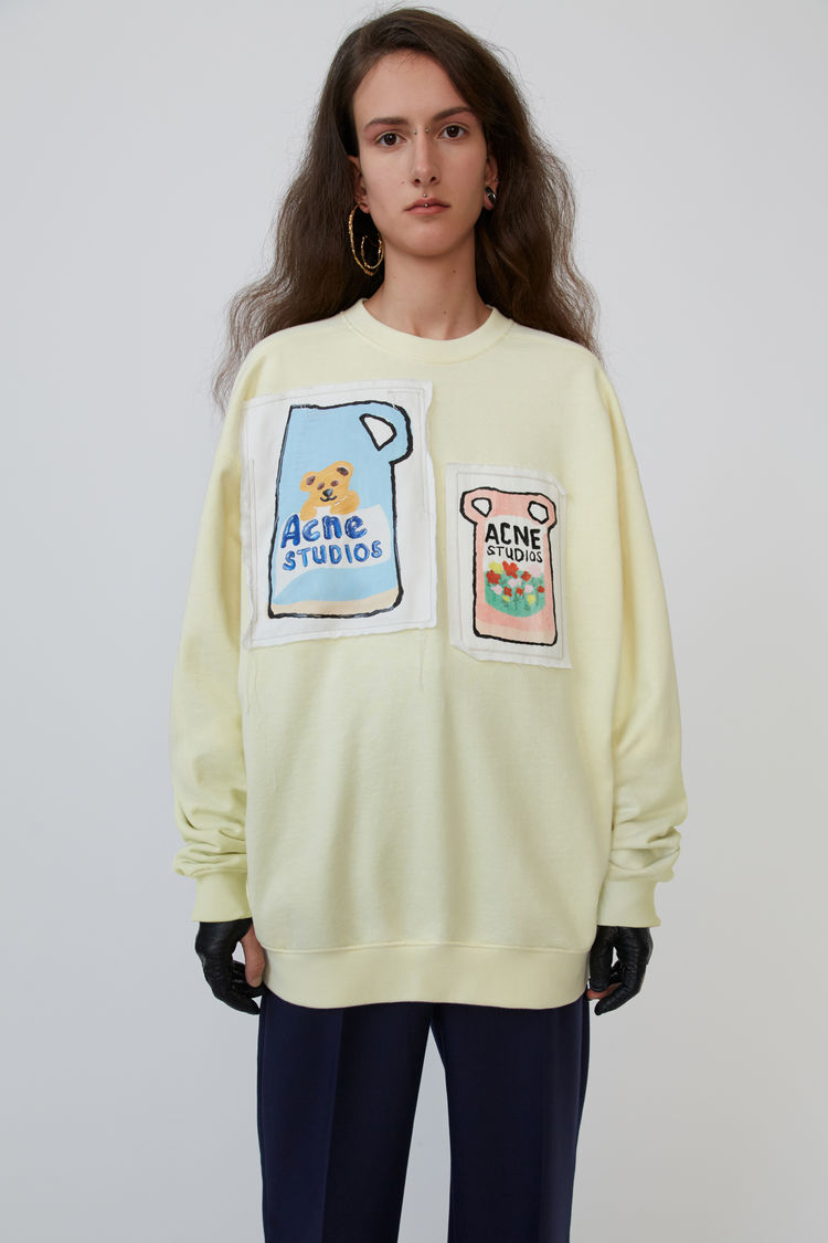 Ceramic Patch Sweatshirt Pale Yellow by Acne Studios