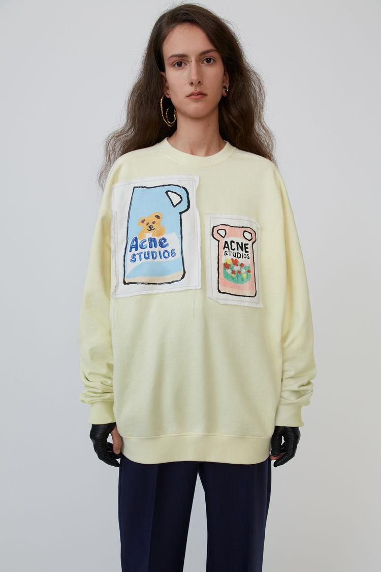 Ceramic Patch Sweatshirt Pale Yellow by Acne Studios