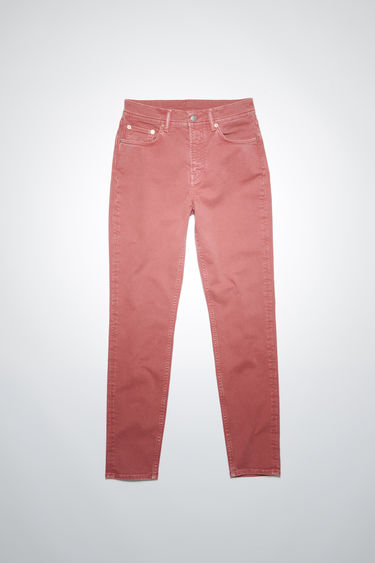 Acne Studios rose pink jeans are made from comfort stretch denim with a high rise and a slim, tapered leg.