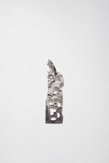Acne Studios silver earring is crafted with a hammered pendant and features a stencil of the letter 'B', then secured via a hinge fastening.