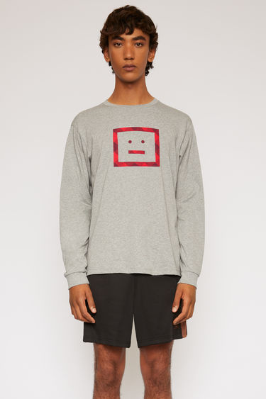 Acne Studios light grey melange long-sleeved t-shirt is crafted from lightweight cotton jersey and features a vichy-check face motif appliqued on front.