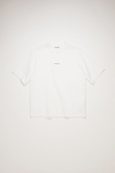 Acne Studios optic white crew neck t-shirt is made of cotton, featuring a front logo print.