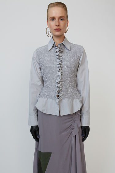 Acne Studios grey shirt is cut to a slim fit with a smocked bodice and shaped with a neat point collar.