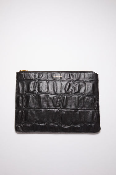 Acne Studios black document holder is made of crocodile-embossed leather and accented with a zipper closure and logo stamp on the front.