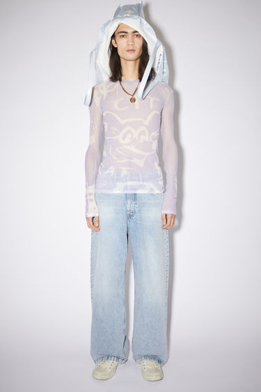 Acne Studios lilac purple long sleeve crew neck t-shirt is made of nylon with an all over print.