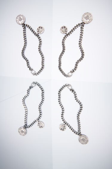 Acne Studios antique silver curb chain necklace features two branded coins.