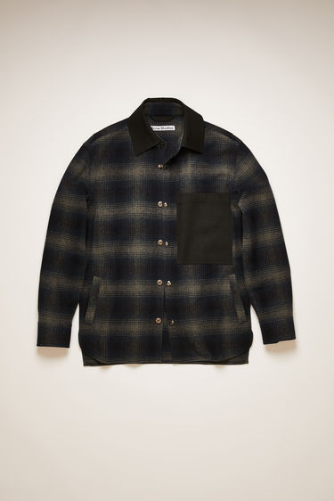 Acne Studios navy/black chore jacket is made from recycled wool woven in tonal checks and features a contrasting point collar, patch pocket and squared elbow patches.