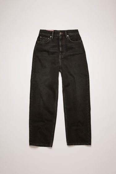 Acne Studios 1993 Vintage black jeans are crafted from rigid denim that's faded and whiskered to give a time-worn appeal. They're cut to a super high-rise silhouette with tapered legs that crop above the ankles.