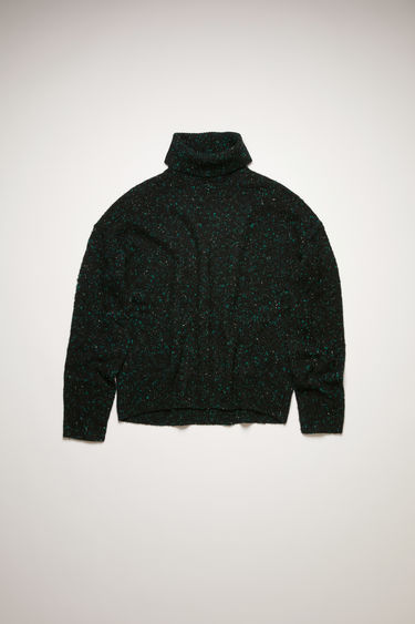 Acne Studios black/green sweater is knitted with flecked merino wool and cashmere-blend yarn and finished with ribbed trims along the neckline, cuffs and hem.