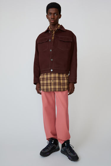 Acne Studios chesnut brown cropped, oversized jacket made from midweight cotton twill with contrasting top stitching.