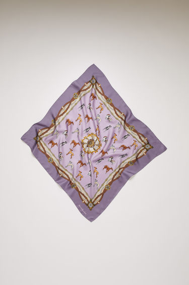 Acne Studios lilac scarf is crafted from lightweight silk and emblazoned with dogs, chains and harness motifs on front and back.