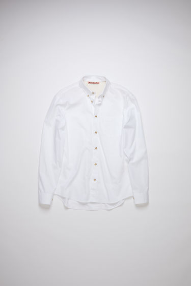 Acne Studios optic white shirt is crafted from cotton poplin with a curved hem and has a chest patch pocket and faux-horn buttons at the collar, placket and cuffs.