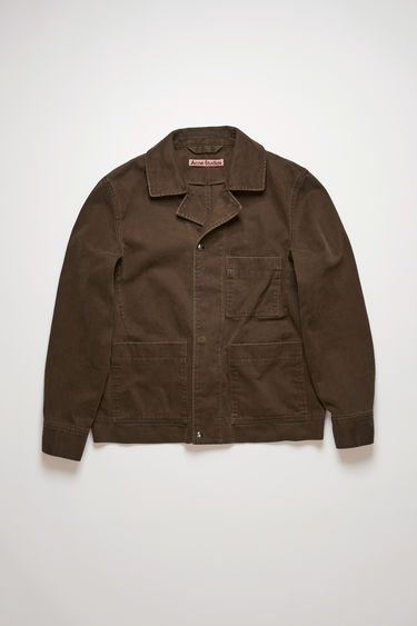 Acne Studios dark oak chore jacket take cues from traditional workwear. It's crafted from stone-washed cotton twill and features three front patch pockets, an open collar and snap button closures.