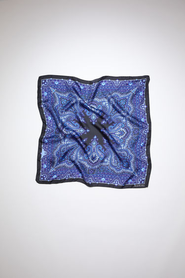 Acne Studios dark blue square bandana scarf is made of silk, featuring a modified paisley print.