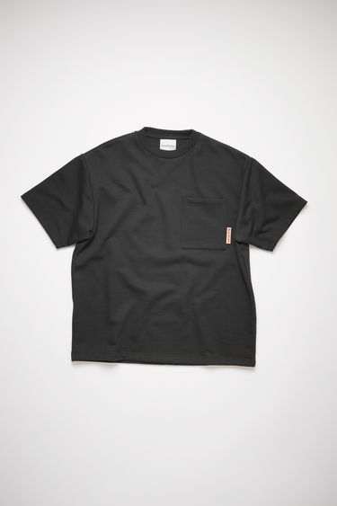 Acne Studios black short sleeve sweatshirt features a ribbed crew neck, a single chest pocket, and an Acne Studios logo tab.
