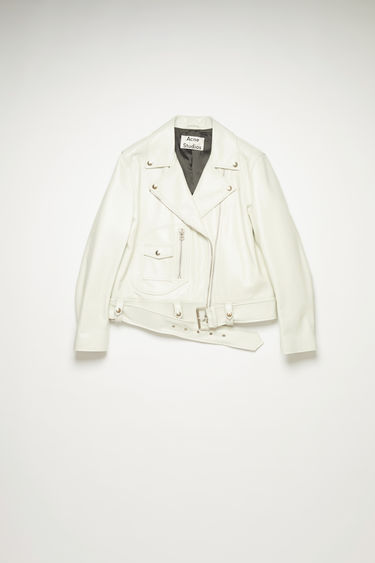 Acne Studios ivory white, relaxed fit, biker jacket featuring D-pocket detail at front.