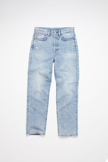 Acne Studios light blue jeans are made from rigid denim with a high rise and a straight leg.